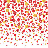 Dalende rode kussen, gouden dozen en harten naadloze achtergrond Vector Royalty-vrije Stock Afbeeldingen