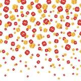 Dalende rode kussen, gouden dozen naadloze achtergrond Vector Royalty-vrije Stock Afbeeldingen