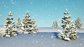 Dalende sneeuw in het witte landschap met bomen De achtergrond van de winter 3D animatie van het nieuwjaar, 4K stock videobeelden