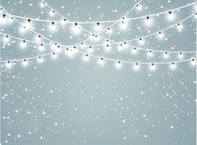 Dalende sneeuw op een transparante fonkelingsachtergrond Abstracte sneeuwvlokachtergrond Vector illustratie vector illustratie
