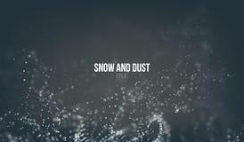 Dalende sneeuwdeeltjes die op de lucht vliegen Stofstormdraaikolk Het effect van Bokeh Sneeuwvlokwolk Stock Afbeeldingen