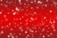 Dalende sneeuwvlokken op een rode achtergrond Stock Foto