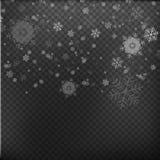 Dalende Sneeuwvlokken op Gray Background De sneeuw van Kerstmis sneeuwval De winter komt De achtergrond van de winter Vector illu royalty-vrije illustratie