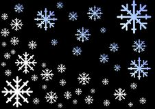 Dalende sneeuwvlokken op zwarte Stock Afbeeldingen