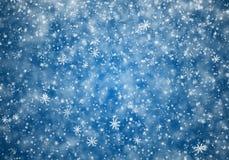 Dalende sneeuwvlokken, sneeuwachtergrond Stock Foto's