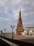 Dalende toren Suumbike. Kazan stad. Stock Afbeeldingen