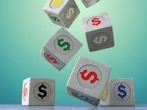 Dalende uitstekende kubussen met het beeld van muntsymbolen op DA Royalty-vrije Stock Fotografie