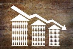 Dalende verkoop van huizen Stock Fotografie