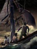 Dalende zeilboot vector illustratie
