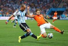 Daley Blind and Pablo Zabaleta Coupe du Monde 2014 Stock Image