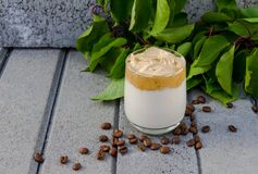 Dalgona coffee and coffee beans on grey concrete background with green branch.