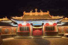 Dazhou lamasery Temple, by night illuminated Hohhot China gate. Dazhou lamesery a tibetan religious temple called lamesery after Dali-lama very ornate gate house royalty free stock photos