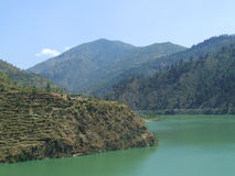 Dalhousie scene. A scene of a cool river and mountain scene of one of prime hill station in India stock photos