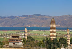 Dali. Three Pagodas of Chong Sheng Temple (built in the 9th Century AD) in Dali, Yunnan province, China stock photography