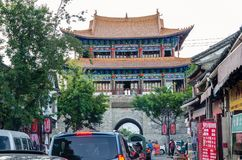 `Anyuan Tower`,the North Gate of Dali is a classic architecture representation of China`s Ming Dynasty. People can seen exploring Stock Photography