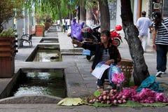 DALI, CHINA, O 20 DE SETEMBRO DE 2011: mulher que vende flores de lótus em t Fotos de Stock Royalty Free