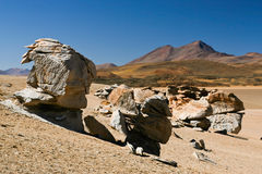 Dali desert. Surreal rock formations in the Dali desert on the Altiplano, Bolivia royalty free stock photo