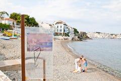 Dali het schilderen replica met de mening die hij heeft geschilderd Stock Afbeeldingen