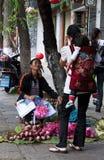 DALI KINA, 20 SEPTEMBER 2011: kvinna som säljer lotusblommablommor på t Arkivbilder