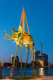Dali Sculpture Space Elephant at the Elbe river Royalty Free Stock Photos