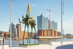 Dali Sculpture Space Elephant at the Elbe river Royalty Free Stock Photo