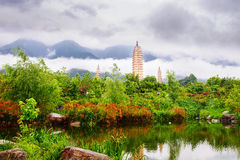 Dali three pagodas_yunnan_landscape Stock Photography