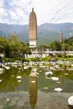 Dali Three Pagodas Reflection. The ancient Three Pagodas monument in Dali, Yunnan Province, China Royalty Free Stock Photos