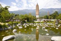 Dali Three Pagodas Reflection. The ancient Three Pagodas monument in Dali, Yunnan Province, China Royalty Free Stock Photography