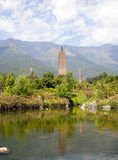 Dali Three Pagodas Reflection. The ancient Three Pagodas monument in Dali, Yunnan Province, China Stock Photography