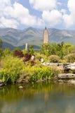 Dali Three Pagodas Reflection. The ancient Three Pagodas monument in Dali, Yunnan Province, China Royalty Free Stock Images