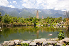 Dali Three Pagodas Reflection. The ancient Three Pagodas monument in Dali, Yunnan Province, China Stock Photo