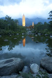 Dali three white pagodas and Cangshan Mountain in the night Stock Image