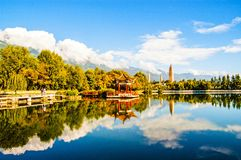 Dali three white pagodas and Cangshan Mountain. Royalty Free Stock Photography