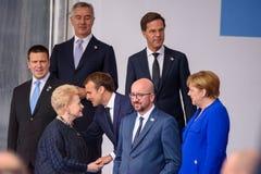Dalia Grybauskaite en Emmanuel Macron stock foto