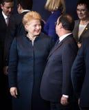 Dalia Grybauskaite and Francois Hollande Royalty Free Stock Photography