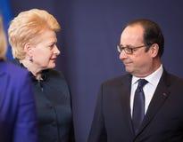 Dalia Grybauskaite and Francois Hollande Royalty Free Stock Images