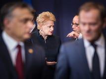 Dalia Grybauskaite and Francois Hollande Stock Photography