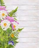 Dalia kwiaty i paprociowa wiązka na biały drewnianym Fotografia Royalty Free