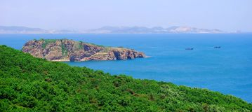 Dalian, China. Forest in Dalian, China. Panoramic view. Sea on background Stock Photo