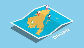 Dalian china explore maps location with folded map and pin location maker destination in isometric style vector illustration