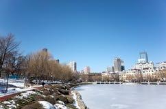 Dalian cityscape i vinter Royaltyfri Fotografi