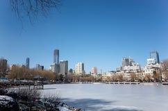 Dalian cityscape i vinter Arkivbilder
