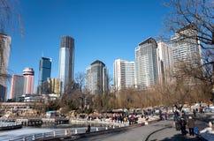 Dalian cityscape i vinter Fotografering för Bildbyråer