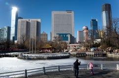 Dalian cityscape i vinter Arkivbild