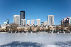 Dalian cityscape in winter. Winter cityscape of Dalian city, Liaoning province, China Royalty Free Stock Photos