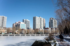 Dalian cityscape in winter. Winter cityscape of Dalian city, Liaoning province, China Royalty Free Stock Photography