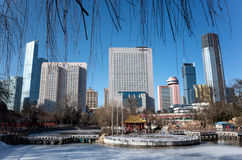 Dalian cityscape in winter. Winter cityscape of Dalian city, Liaoning province, China Royalty Free Stock Images