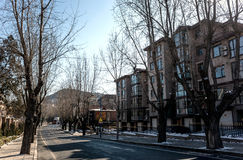 Dalian cityscape in winter. Streets of Dalian city, Liaoning province, China Royalty Free Stock Photo