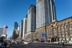 Dalian cityscape in winter. Streets of Dalian city, Liaoning province, China Royalty Free Stock Photos