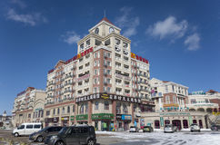 Dalian cityscape in winter. Vacation hotel of Dalian city, Liaoning province, China Royalty Free Stock Images